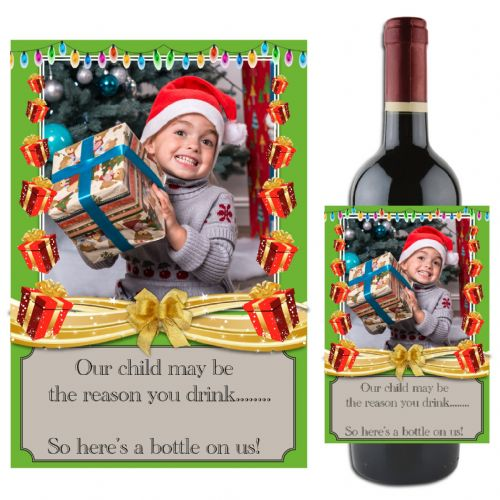 "Personalised Xmas Christmas Gift Idea ""Our child""  Wine / Champagne Bottle PHOTO Label N75"